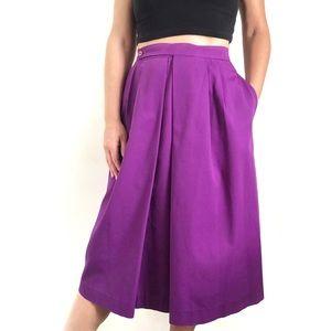 Vintage Gary Petites Purple Faux Wrap Midi Skirt
